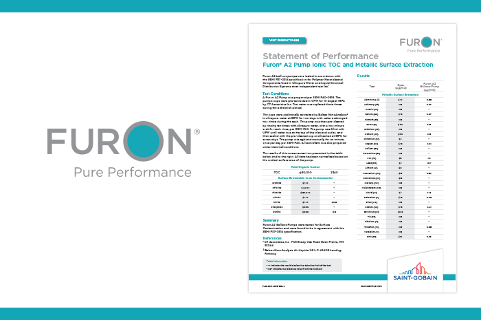 Statement of Performance: Furon® A2 Pump - Ionic TOC and Metallic Surface Extraction