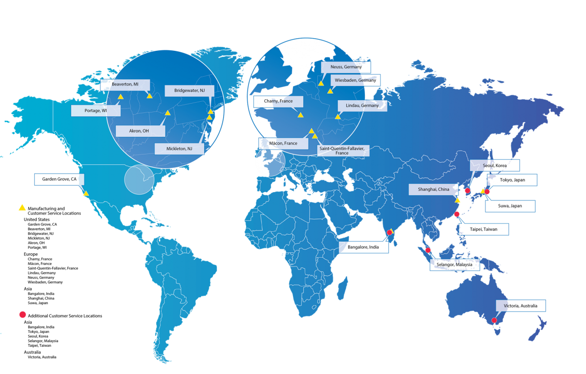 Saint-Gobain Process Systems Global Operations Map